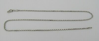 "1.5mm OR 14k White Gold 16"" Rope Necklace - 4.75 Grams"