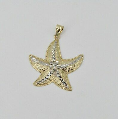 "14k Yellow & White Gold 1 3/8"" Starfish Pendant - 4.51 Grams"
