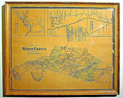ANTQ 1867 FW BEERS NORTH CASTLE MAP WESTCHESTER NY ARMONK KENSICO FRAMED w/GLASS