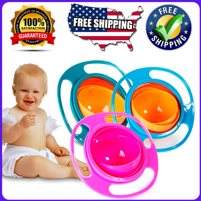 🔥Baby Kids Infant Feeding Dishes Gyro Bowl Universal 360 Rotate Spill Proof ✅