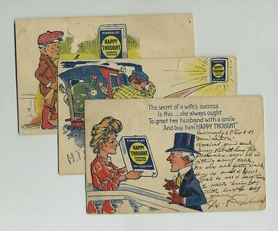 Lot (3) Early Happy Thought Chewing Tobacco Comic Advertising Postcards yz2262