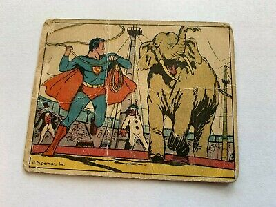 VINTAGE 1940 SUPERMAN Gum Card #9 AT THE CIRCUS DC Comics Trading