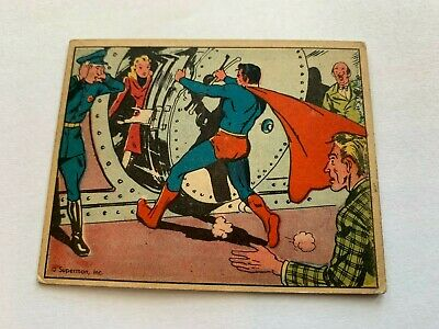 VINTAGE 1940 SUPERMAN Gum Card #8 RESCUE AT THE BANK DC Comics Trading