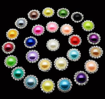 10mm Mixed Flatback Faux Pearl Rhinestone Flowers for Crafts Scrapbooking Decor