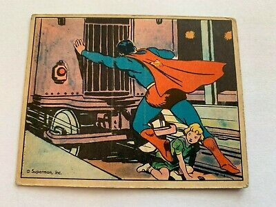 VINTAGE 1940 SUPERMAN Gum Card #15 PANIC IN THE SUBWAY DC Comics Trading