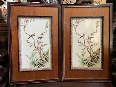 Chinese Antique  Pair Famille Rose porcelain Plaque Tile China Asian