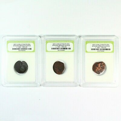 3 Pirate Era - 1600's Early America Spanish Bronze Cobs Exact Lot Shown 9164
