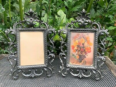 Pair Antique Cast Iron Easel Picture Frame 12 Inches Coalbrookdale