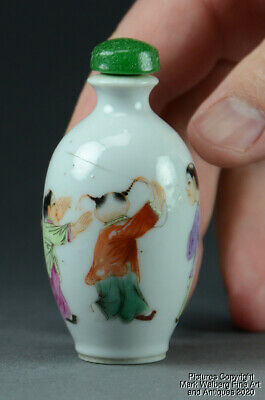 Chinese Famille Rose Porcelain Snuff Bottle, Boys Flying a Kite, 19/20th Century
