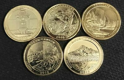 2010 America The Beautiful 24K GOLD PLATED Quarters Parks 5-Coin Set w//Capsules