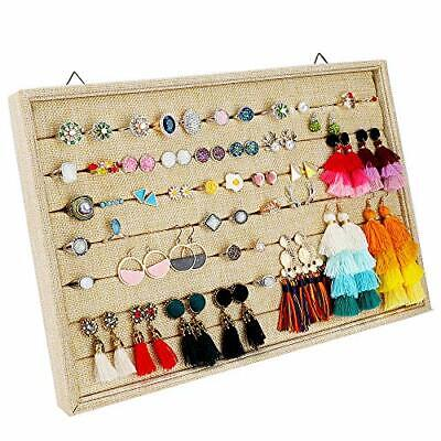 Mebbay Sackcloth Stackable 7 Slots Ring Earring Display Tray Organizer, Stud