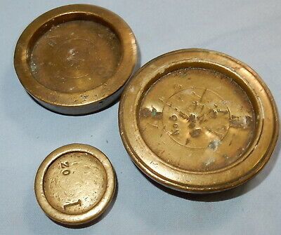 Antique Victorian Lot Of Weights For Weighing Scale - Brass - Various