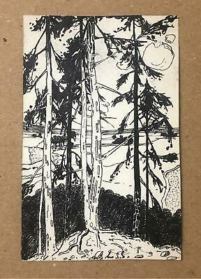 Arts & Craft Art Nouveau Landscape Drawing - Early 20th Century Signed Artwork