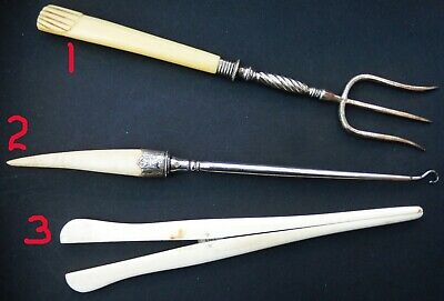 3 High Quality Antique Bovine items; Toast Fork, Button Hook Glove Stretchers