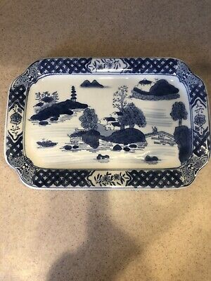 CHINESE Export Blue & White Canton Porcelain  Plate