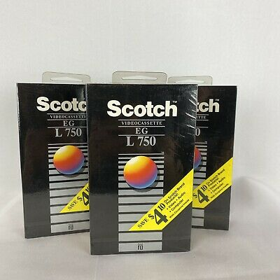 Lot Of Three New Sealed Blank Scotch EG VHS Tapes  L 750