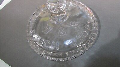 Drug Store W&S Cough Drops Glass Apothecary Canister Advertising Lid Excellent