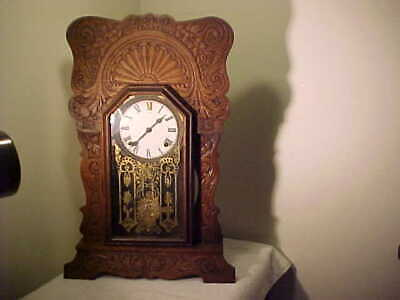 Antique 8 day, time & strike Oak Kitchen Shelf Mantel Clock  runs great