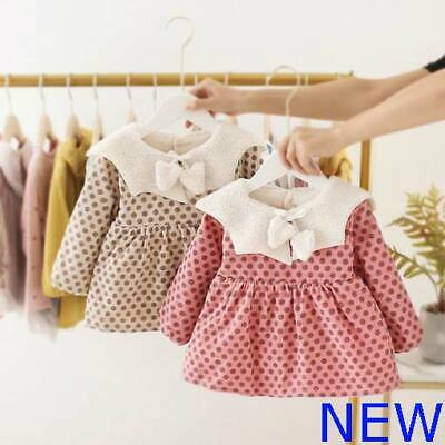 Clothes Girl Kid Toddler Baby Casual Dress Winter Warm Floral Dresses Padded