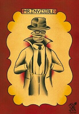 Mr. Invisible by Charlie Coffin Traditional Tattoo Unframed Art Print Poster