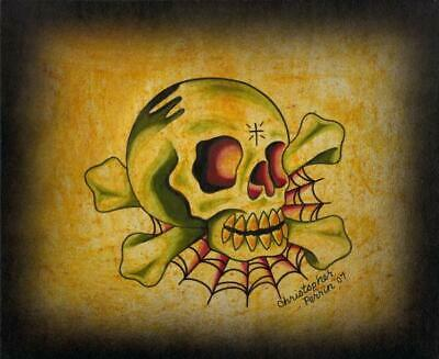 Skull and Web by Christopher Perrin Unframed Fine Art Print Poster
