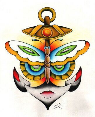 Butterfly Anchor Face by Clark North Fine Art Print Poster for Framing