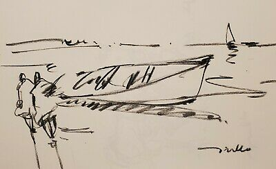 JOSE TRUJILLO - Original Charcoal Paper Sketch Drawing 11X17 ROW BOAT SIGNED