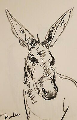 JOSE TRUJILLO - Original Charcoal Paper Sketch Drawing 11X17 DONKEY ANIMAL