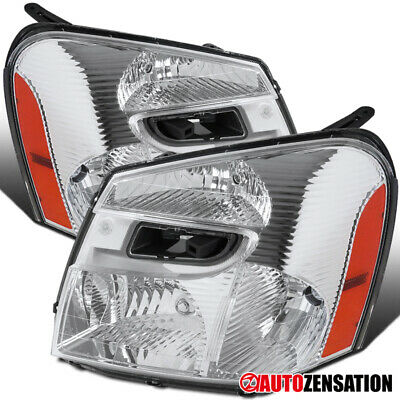 For 2005-2009 Chevy Equinox Clear Lens Headlights Lamps Left+Right Pair+Amber