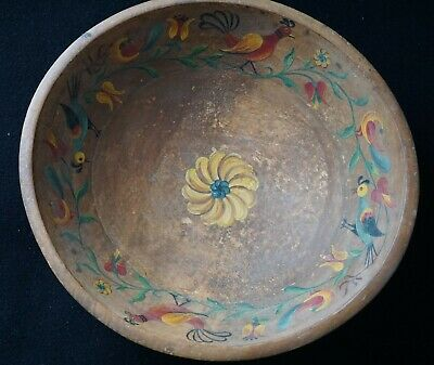 Antique Fraktur Painted & Signed Primitive Round Wooden Bowl