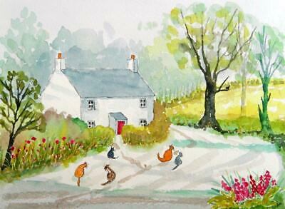 ORIGINAL Watercolour Painting: ANIMALS/COTTAGE:  THE COTTAGE CATS