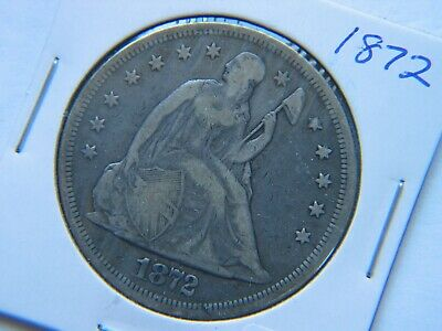1872 Liberty Seated Silver Dollar Nice Circulated Coin Fine +