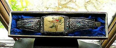 Antique CHINESE Export SILVER Bracelet Carved Painted Lady on a PHOENIX ENAMEL