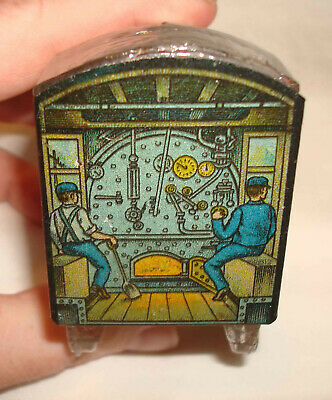 Vintage Locomotive Train Crystal Glass Candy Container w/Tin Litho Cover RARE