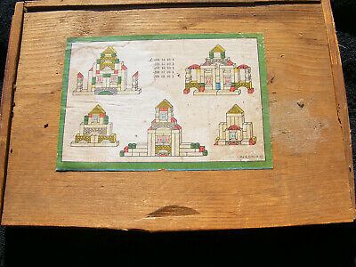 Vintage Wooden Building Puzzle with Wooden Box