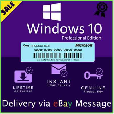Microsoft Windows 10 Pro Professional 32./64bit Genuine License Key Instant