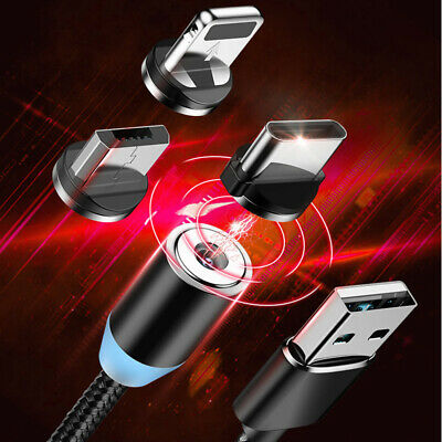 3A Micro USB LED Magnetic Fast Charger Charging Cable For Android iPhone TypeC#Q