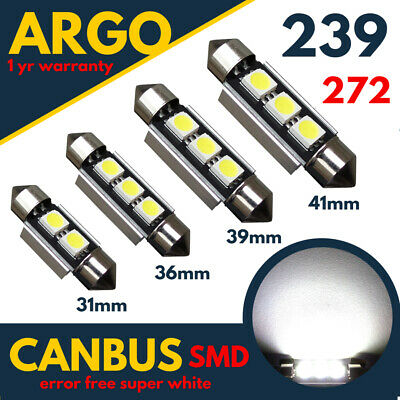 12SMD LED 38mm 239 272 C5W XENON WHITE ERROR FREE CANBUS NUMBER PLATE LIGHT BULB