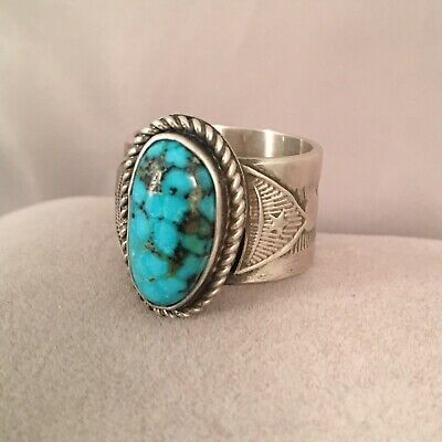 Handmade Morenci Turquoise & Sterling Silver Ring Size 9