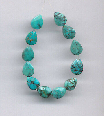 """FACETED HUBEI CLOUD MOUNTAIN TURQUOISE TEARDROP BEADS - 3.75"""" Strand - 2119"""