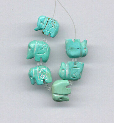 Old Stock - Hubei Cloud Mountain Turquoise Carved Elephant Beads - 2121