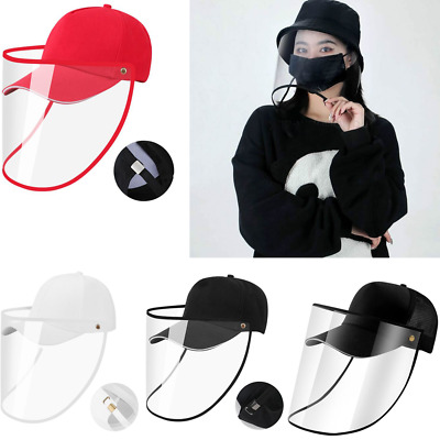 Safety Face Covering Shield Anti Saliva Visor Baseball Cap Hat Protective Cover