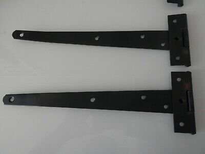 """Pair of Tee Hinges Light Pattern Black Japaned Shed Hinges 4/"""" /& 10/"""" with Fixings"""