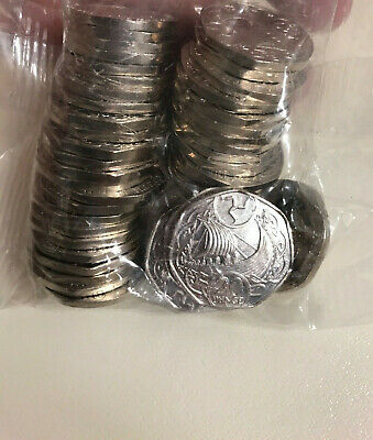 1 x Isle Of Man 20p Coin 2019 Viking Long Boat uncirculated from sealed bag