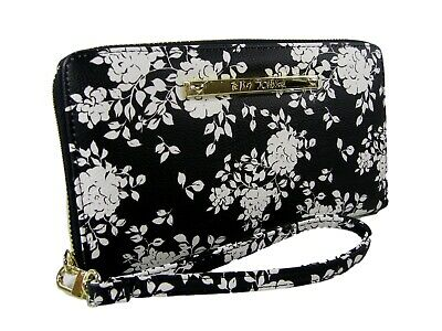 Classic Betsey Johnson French Bulldog Plaid Multi Compartment Wristlet Wallet Large