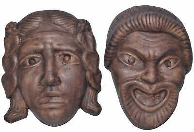 2 Ancient Greek Terracotta Fired Clay Theater Masks Handcrafted Reproductions