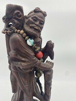"14"" Antique Chinese Wood Carving Statue Sculpture Ornament Figurine"