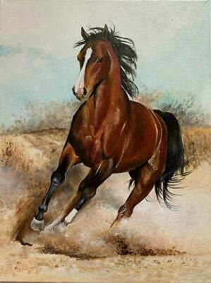 ZWPT85 fine 100/% hand-painted animal two horses oil painting decor art on Canvas