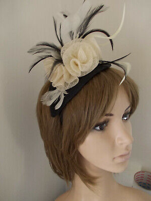 Black & Cream sinamay fascinator feathers flower hairband alice