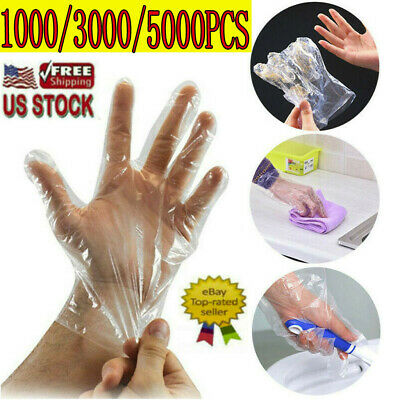 1000-5000PCS Healty Plastic Clear Gloves Food Cleaning Home Catering Beauty Use